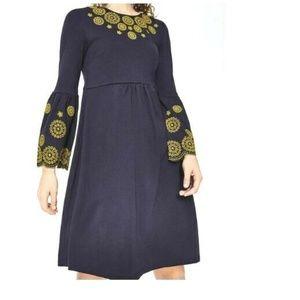 Boden Emilia Dress Sz 10 Blue Yellow Embroidered